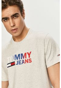 Tommy Jeans - T-shirt. Okazja: na co dzień. Kolor: szary. Wzór: nadruk. Styl: casual