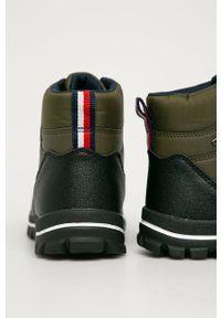 Brązowe buty zimowe TOMMY HILFIGER z cholewką, na sznurówki, na zimę, z okrągłym noskiem