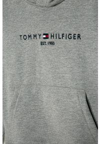 Szara bluza TOMMY HILFIGER na co dzień, z kapturem, z aplikacjami, casualowa