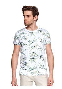 TOP SECRET - T-shirt z nadrukiem w liście. Okazja: na co dzień. Kolor: biały. Materiał: bawełna, tkanina. Długość rękawa: krótki rękaw. Długość: krótkie. Wzór: nadruk. Sezon: lato. Styl: wakacyjny, casual