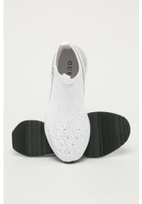 Białe sneakersy Guess na średnim obcasie, z okrągłym noskiem