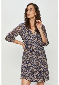 Niebieska sukienka Vila na co dzień, w kwiaty, casualowa, prosta