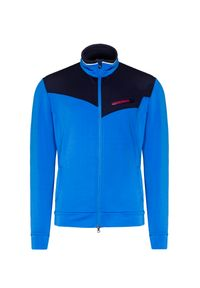 Niebieska bluza Chervo w kolorowe wzory, z kontrastowym kołnierzykiem