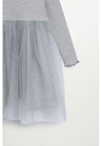 Szara sukienka Mango Kids mini, rozkloszowana, z długim rękawem, ze stójką