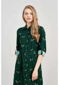 Marie Zélie - Sukienka Eliza Cavalos butelkowa zieleń. Materiał: bawełna, wiskoza. Długość rękawa: długi rękaw. Typ sukienki: szmizjerki. Styl: klasyczny