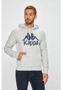 Szara bluza nierozpinana Kappa z nadrukiem, z kapturem, casualowa, na co dzień