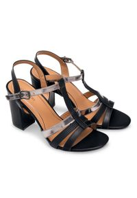Czarne sandały na słupku SIXTH SENS eleganckie, w kolorowe wzory, ze sprzączką