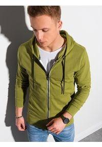 Ombre Clothing - Bluza męska rozpinana z kapturem B1152 - oliwkowa - XXL. Typ kołnierza: kaptur. Kolor: oliwkowy. Materiał: bawełna, poliester