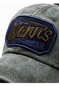 Ombre Clothing - Czapka męska z daszkiem H088 - khaki - uniwersalny. Kolor: brązowy. Materiał: bawełna