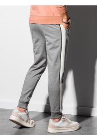 Ombre Clothing - Spodnie męskie dresowe joggery P951 - szare - XXL. Kolor: szary. Materiał: dresówka