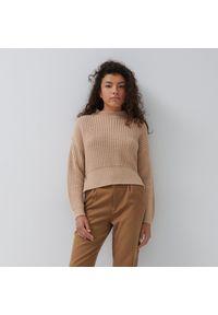 House - Sweter z prążkowanej dzianiny - Beżowy. Kolor: beżowy. Materiał: dzianina, prążkowany