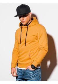 Ombre Clothing - Bluza męska z kapturem B1224 - musztardowa - XXL. Typ kołnierza: kaptur. Kolor: żółty. Materiał: poliester, bawełna