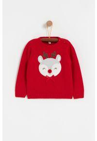 Czerwony sweter OVS krótki, casualowy, na co dzień, z aplikacjami