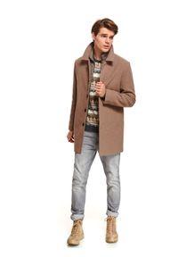 TOP SECRET - Klasyczny płaszcz z kołnierzem z tkaniny z domieszką wełny. Kolor: brązowy. Materiał: tkanina, wełna. Sezon: zima. Styl: klasyczny #6