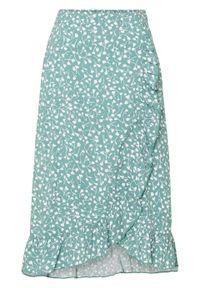 Spódnica z falbaną bonprix zielony w kropki. Kolor: zielony. Wzór: kropki