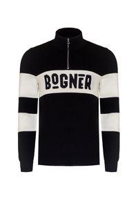 Czarny sweter Bogner z klasycznym kołnierzykiem, krótki, klasyczny
