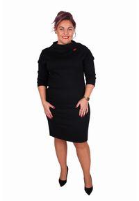 Czarna sukienka dla puszystych Moda Size Plus Iwanek na spotkanie biznesowe, z golfem, w kropki