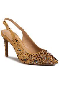 Żółte sandały Alma En Pena eleganckie, z aplikacjami