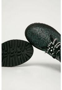 Czarne botki Pepe Jeans z okrągłym noskiem, na rzepy