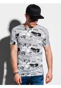 Ombre Clothing - T-shirt męski z nadrukiem S1292 - biały - XXL. Kolor: biały. Materiał: bawełna, tkanina. Wzór: nadruk. Styl: klasyczny
