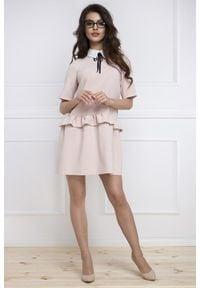 e-margeritka - Sukienka baskinka z krótkim rękawem - 42. Okazja: na spotkanie biznesowe, do pracy. Materiał: elastan, poliester, nylon. Długość rękawa: krótki rękaw. Typ sukienki: baskinki. Styl: elegancki, biznesowy
