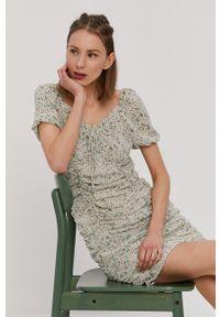 only - Only - Sukienka. Kolor: zielony. Materiał: tkanina. Typ sukienki: dopasowane