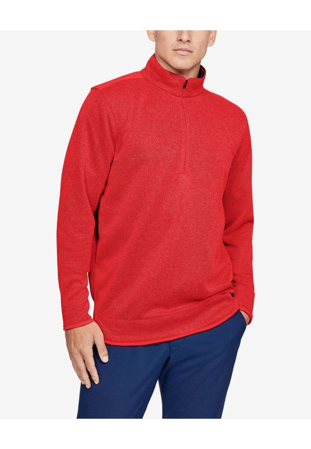 Czerwona bluza Under Armour sportowa, w kolorowe wzory, długa, z dekoltem woda