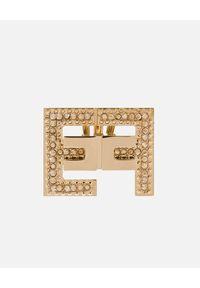 Elisabetta Franchi - ELISABETTA FRANCHI - Złote kolczyki z podwójnym logo. Materiał: złote. Kolor: złoty. Wzór: aplikacja. Kamień szlachetny: cyrkonia