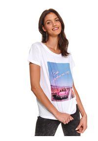 Biały t-shirt DRYWASH krótki, z nadrukiem, z krótkim rękawem