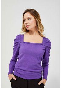 MOODO - Sweter z bufiastym rękawem. Materiał: wiskoza, poliamid, poliester. Długość rękawa: długi rękaw. Długość: długie. Wzór: gładki