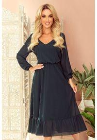 Numoco - Szyfonowa sukienka midi z dekoltem i falbanką. Materiał: szyfon. Długość: midi