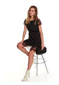 Czarna sukienka TOP SECRET koszulowa, z aplikacjami