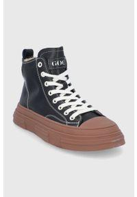 GOE - Trampki skórzane. Nosek buta: okrągły. Zapięcie: sznurówki. Kolor: czarny. Materiał: skóra. Szerokość cholewki: normalna