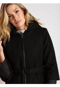 Czarny płaszcz TOP SECRET długi, na jesień, casualowy