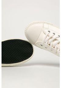 Białe wysokie trampki Guess Jeans z okrągłym noskiem, z cholewką, na sznurówki