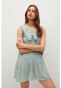 mango - Mango - Sukienka COLLAR. Kolor: zielony. Materiał: materiał. Typ sukienki: rozkloszowane