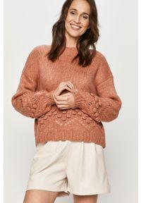 Różowy sweter Answear Lab długi, z długim rękawem