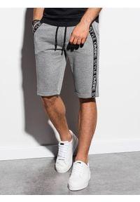 Ombre Clothing - Krótkie spodenki męskie dresowe W242 - szary melanż - XL. Kolor: szary. Materiał: dresówka. Długość: krótkie. Wzór: melanż #4