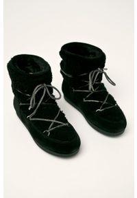 Czarne śniegowce Moon Boot na sznurówki, na obcasie, na średnim obcasie, z cholewką