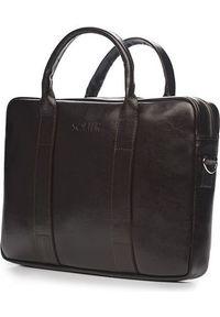 Torba Solier Skórzana męska torba na laptopa Ciemny brąz Solier William. Kolor: brązowy. Materiał: skóra