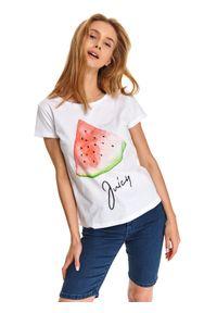 Biały t-shirt TOP SECRET casualowy, na co dzień, na lato