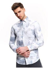 Niebieska koszula TOP SECRET z krótkim rękawem, długa, na wiosnę