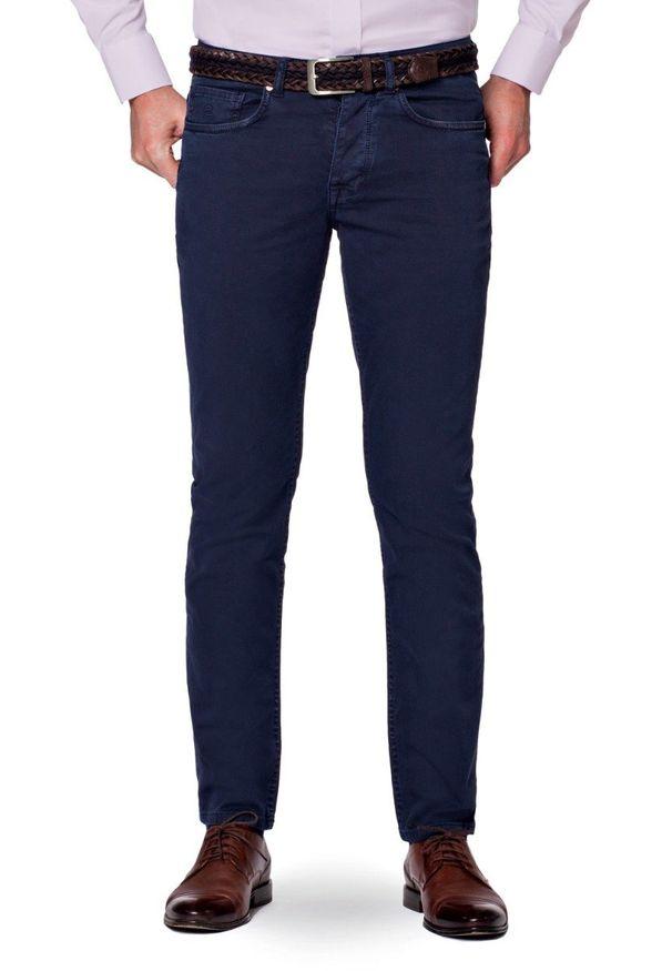 Niebieskie spodnie Lancerto na wiosnę, na co dzień, z haftami, casualowe