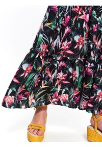 Czarna spódnica TOP SECRET na jesień, w kwiaty, długa, elegancka