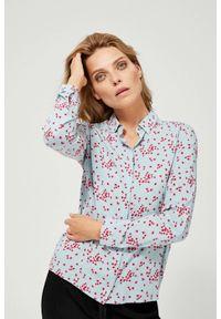 MOODO - Koszula w kwiaty. Materiał: bawełna, wiskoza. Długość rękawa: długi rękaw. Długość: długie. Wzór: kwiaty