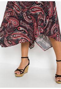 Spódnica z asymetryczną linią dołu bonprix czarno-malinowy paisley. Kolor: czarny. Długość: długie. Wzór: paisley #5