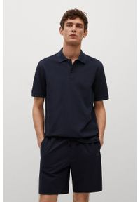 Niebieska koszulka polo Mango Man polo, gładkie