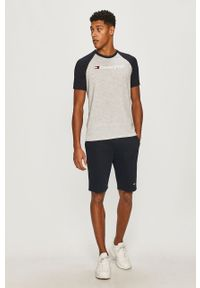 Szary t-shirt Tommy Sport z nadrukiem, sportowy, raglanowy rękaw, na co dzień