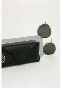Złote okulary przeciwsłoneczne Ray-Ban okrągłe