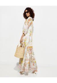 Camilla - CAMILLA - Jedwabna sukienka maxi. Kolor: żółty. Materiał: jedwab. Wzór: aplikacja, kwiaty. Typ sukienki: rozkloszowane. Styl: boho, elegancki. Długość: maxi
